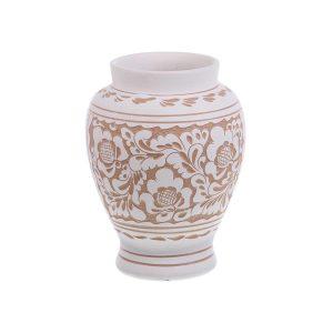 Vaza de ceramica alba de Corund 18 cm Model 3