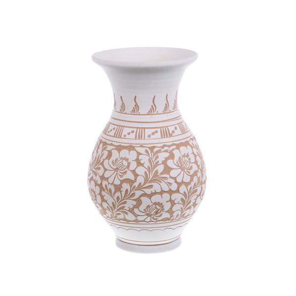 Vaza de ceramica alba de Corund 25 cm Model 1