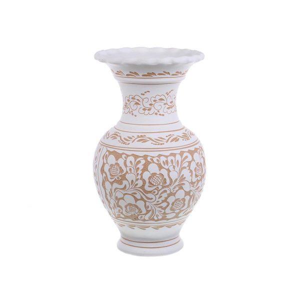 Vaza de ceramica alba de Corund 32 cm Model 2