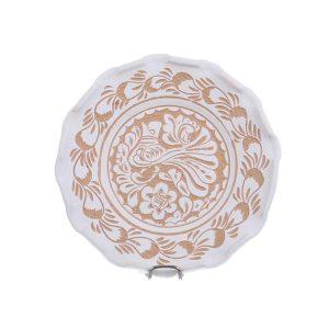 Farfurie traditionala ceramica alba de Corund 16 cm