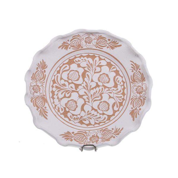 Farfurie traditionala ceramica alba de Corund 20 cm