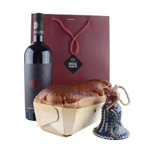 Pachet cadou - Clopoțel Ceramică Bledea, Cozonac proaspăt Pania și vin Fetească Neagră Nativus