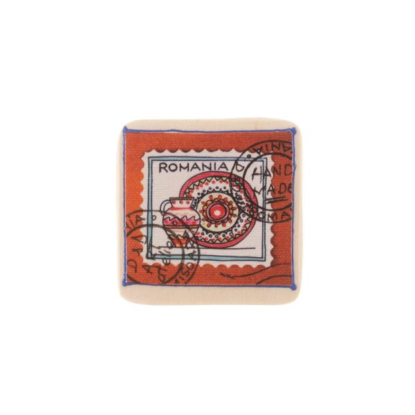 Magnet pătrat România pictat pe pânză - litografie pe panza si lemn sau ceramică DD