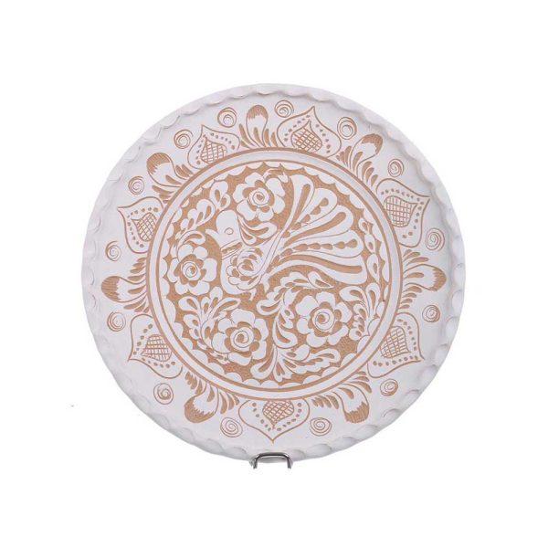Farfurie traditionala ceramica alba de Corund 24 cm
