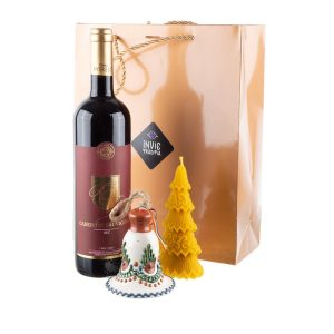 Pachet cadou de Craciun cu clopotel de Bledea, lumanare din ceara naturala si vin Cabernet Sauvignon