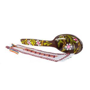 Pachet cadou de Craciun cu semn de carte si lingura din lemn pictata manual