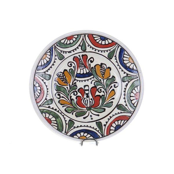 Farfurie traditionala ceramica colorata de Corund 16 cm