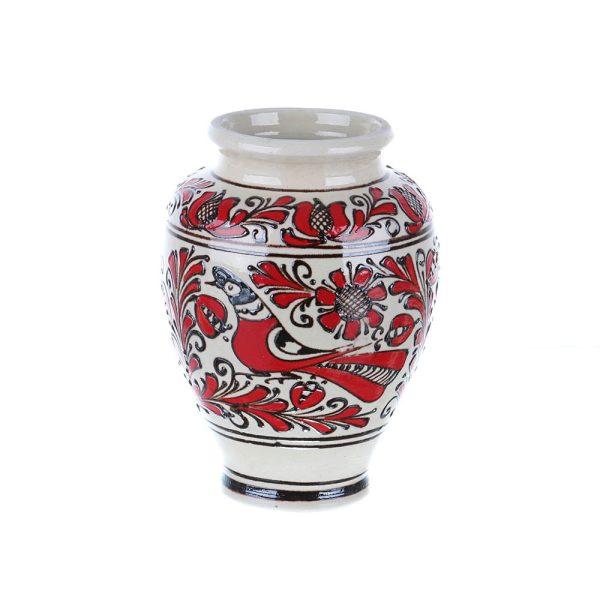 Vaza ceramica rosie de Corund 17 cm