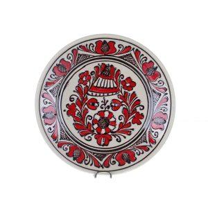 Farfurie traditionala ceramica rosie de Corund 19 cm