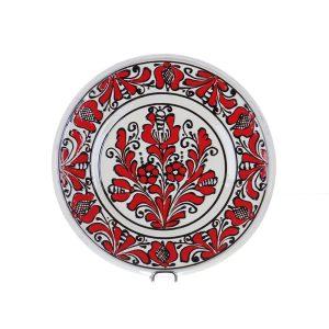 Farfurie traditionala ceramica rosie de Corund 21 cm