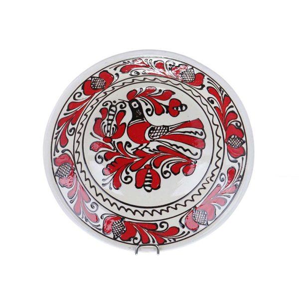 Farfurie traditionala adanca ceramica rosie de Corund 21 cm