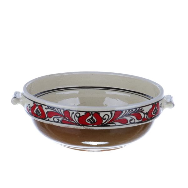 Castron cu manere ceramica traditionala rosie de Corund 20 cm