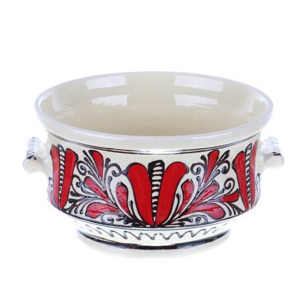 Bol cu manere ceramica traditionala rosie de Corund 15 cm