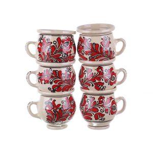 Set cani vin ceramica rosie de Corund 6 x 300 ml