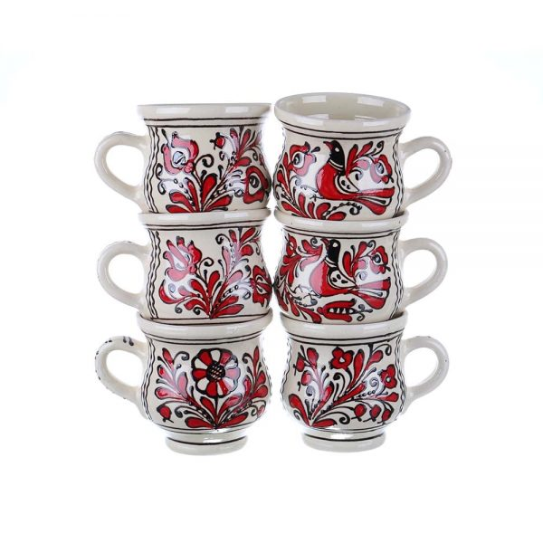 Set cani vin / ceai / bere ceramica rosie de Corund 400 ml