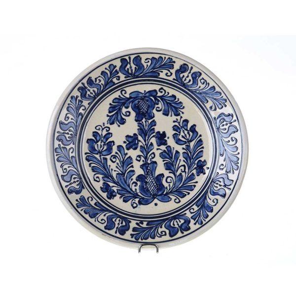 Farfurie traditionala ceramica albastra de Corund 24 cm Model 1