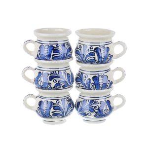 Set cani vin / ceai / cafea ceramica albastra de Corund 6 x 200 ml