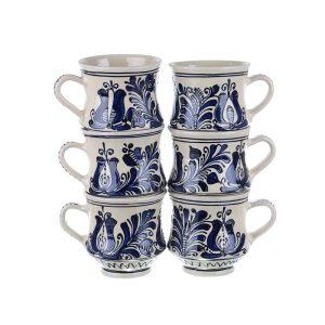 Set cani vin / ceai / bere ceramica albastra de Corund 6 x 400 ml