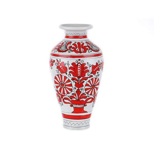 Vaza ceramica rosie de Corund nesmaltuita 30 cm