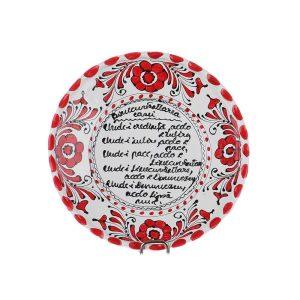 "Farfurie ""Binecuvantarea Casei"" ceramica rosie de Corund 16 cm"