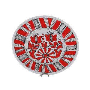 Farfurie decorativa ceramica rosie de Corund 19 cm
