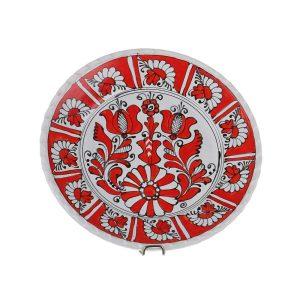 Farfurie decorativa ceramica rosie de Corund 24 cm