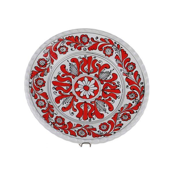 Farfurie decorativa ceramica rosie de Corund 31 cm