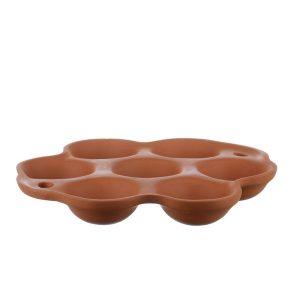 Tava din lut pentru cuptor oua / bulz 7 compartimente