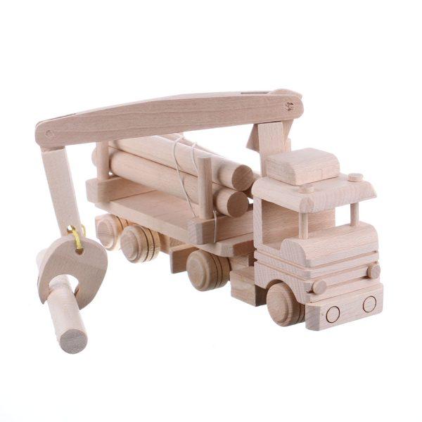 Jucarie din lemn necolorata model tir cu lemne si macara