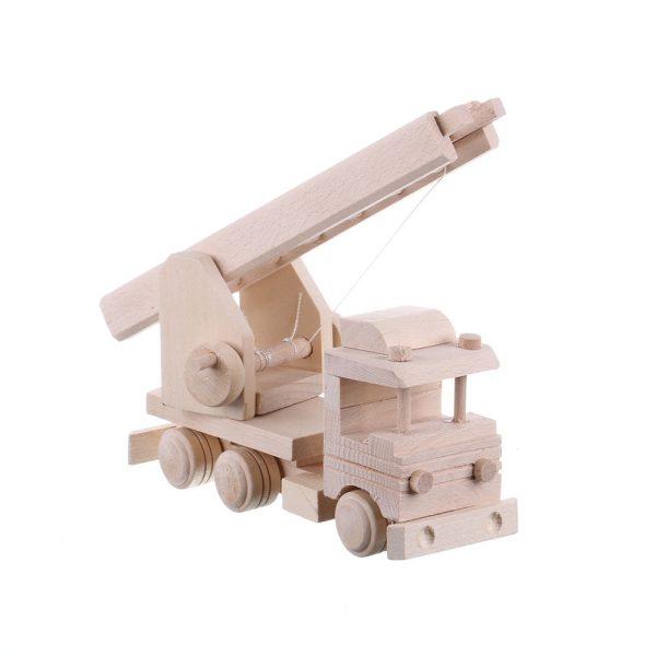 Jucarie din lemn necolorata model masina pompieri cu scara extensibila