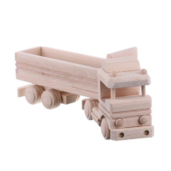 Jucarie din lemn necolorata model tir cu remorca