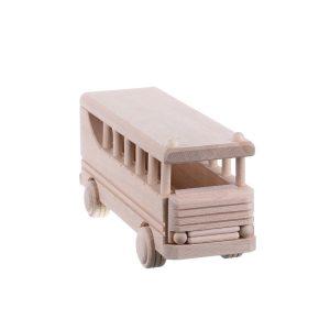 Jucarie din lemn natur autobuz model clasic