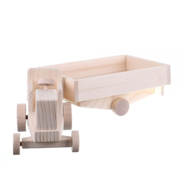 Jucarie din lemn tractor cu remorca
