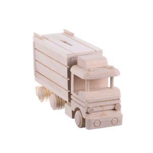Jucarie din lemn camion transport cu vagon