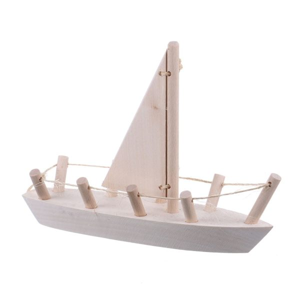 Jucarie din lemn barca cu vela mobila