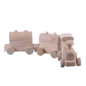 Jucarie din lemn trenulet cu locomotiva si  2 vagoane