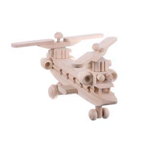 Jucarie din lemn elicopter armata cu 2 elice