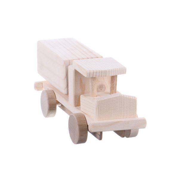 Jucarie din lemn camioneta cu vagon tir model mic
