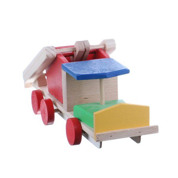 Jucarie din lemn masina de gunoi colorata