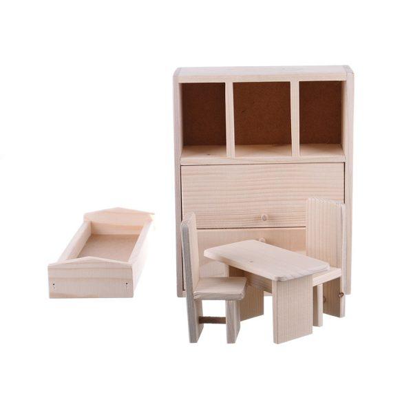 Jucarie din lemn natur mobilier dormitor