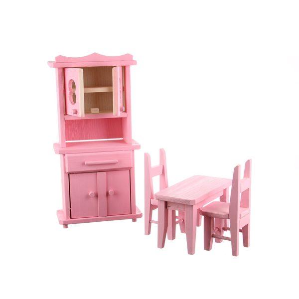 Jucarie din lemn mobilier bucatarie roz