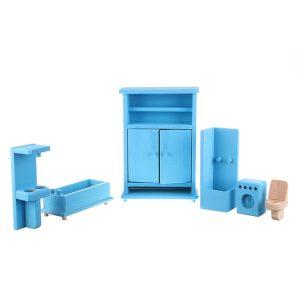 Jucarie din lemn mobilier baie albastru