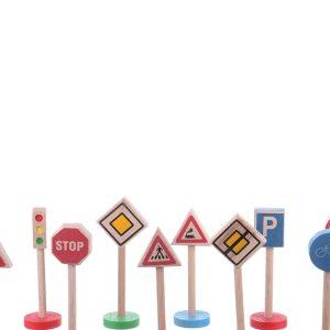 Jucarie din lemn set indicatoare auto