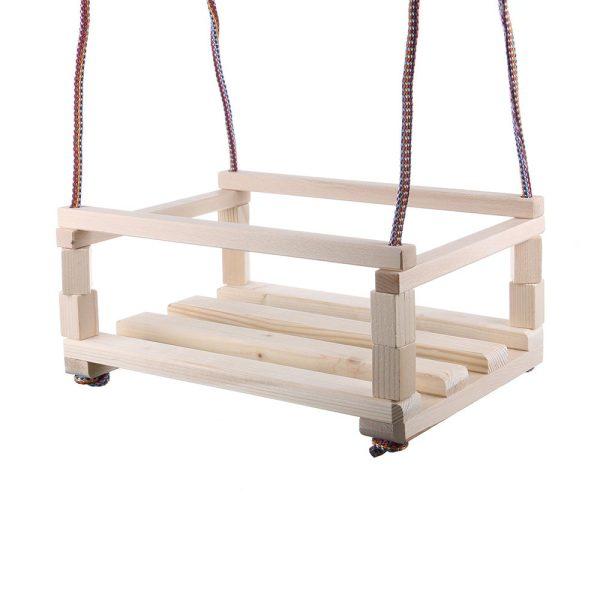 Leagan din lemn pentru copii - de agatat in copac sau pe bara