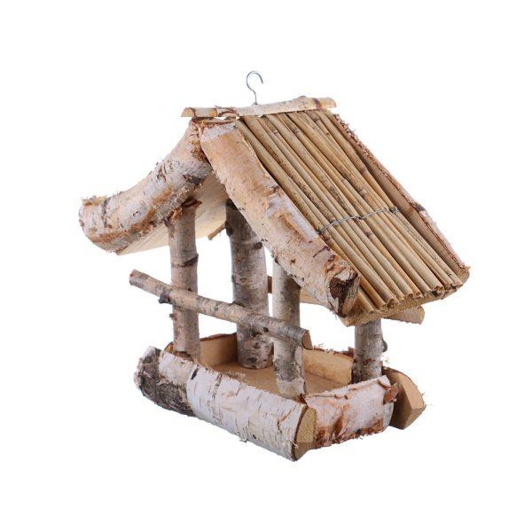 Casuta din lemn pentru pasari din barne cu coaja de copac