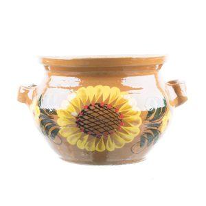 Oală de sarmale ceramică pictată manual floral 5 l