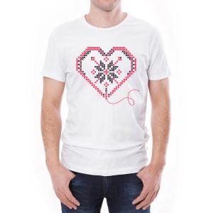 Tricou Bărbați Inima Învie Tradiția alb/negru