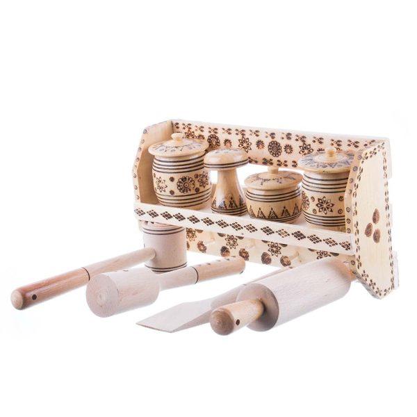 Set 4 recipiente și 4 ustensile de bucătărie și suport de perete