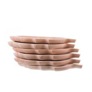 Set 6 platouri din lemn pentru servit model frunză