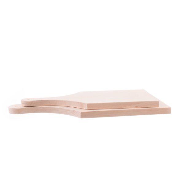 Set 2 tocătoare din lemn cu mâner, mic și mediu